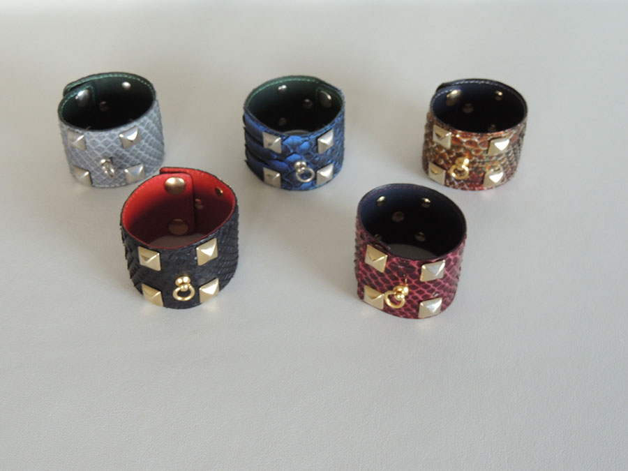 bracciali in pelle di pitone- accessori in pelle artigianali