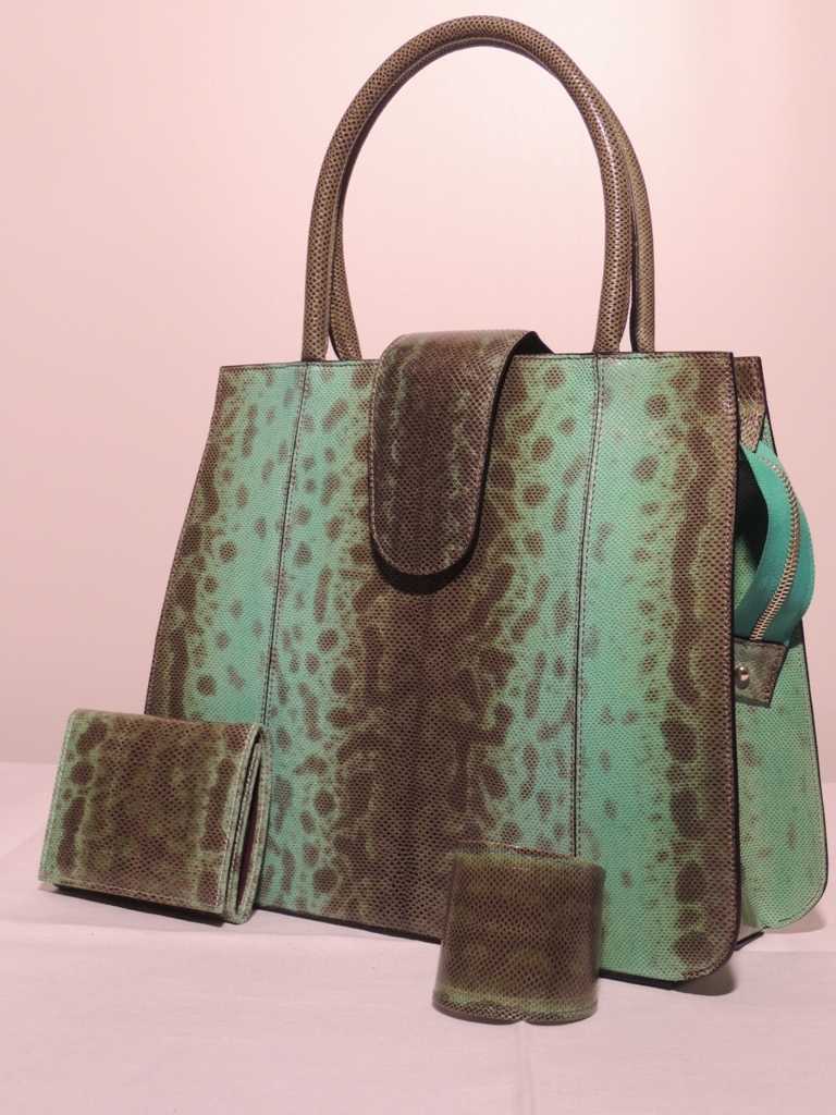 borsa  artigianale in pelle di lucertola