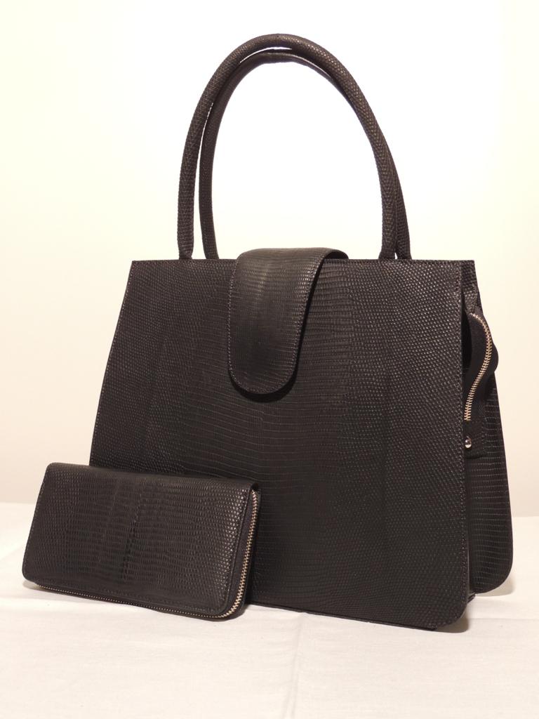 borse artigianali: borsa in pelle di lucertola rigida nera