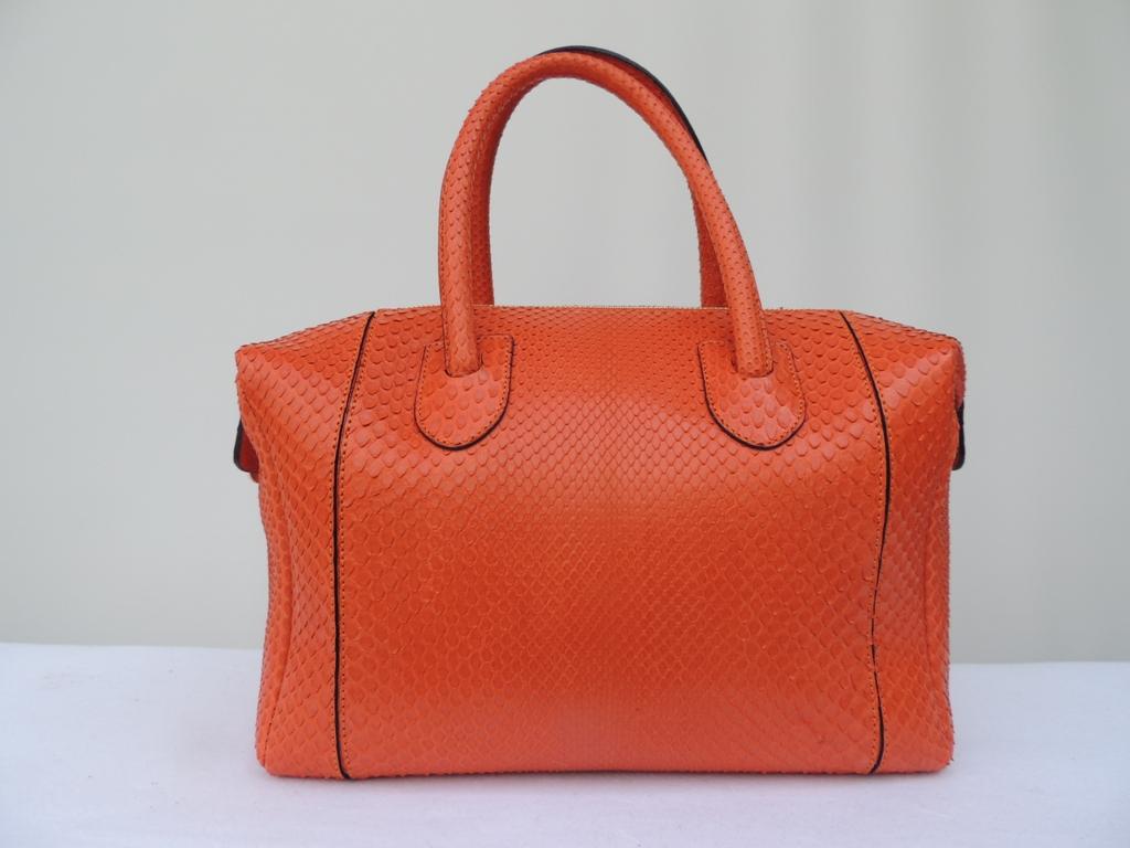 borse artigianali in pitone arancione