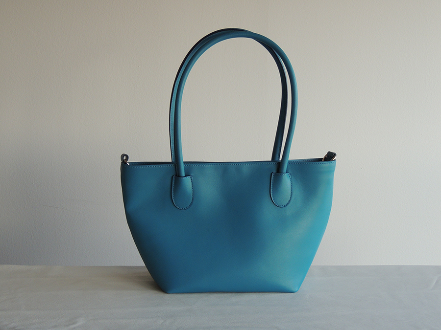 shopping bag in pelle color azzurro - borsetta in pelle
