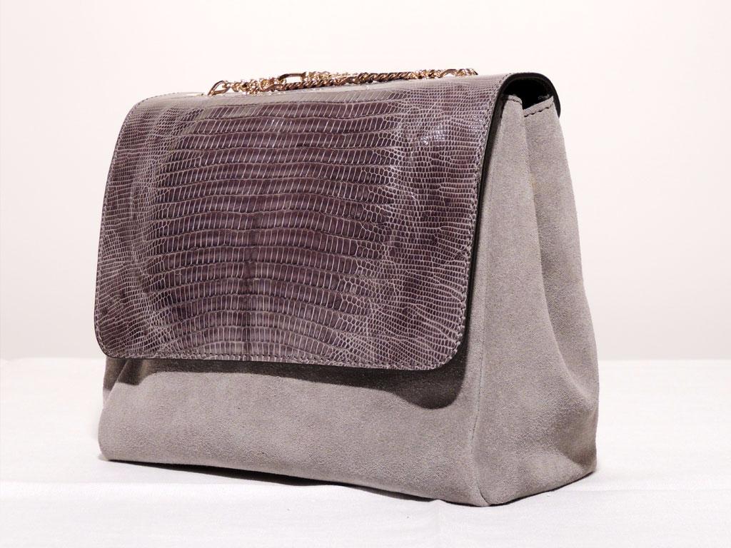 borse di coccodrillo e tejus da donna:borsa in pelle di tejus scamosciata