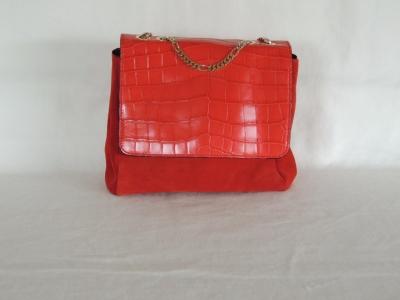 borsa in coccodrillo -  borsa piccola in pelle di coccodrillo color rosso