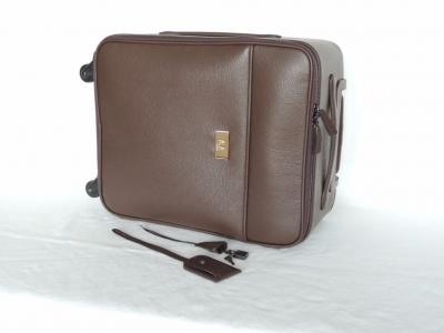 valigia-trolley in pelle color marrone, borse da viaggio in pelle