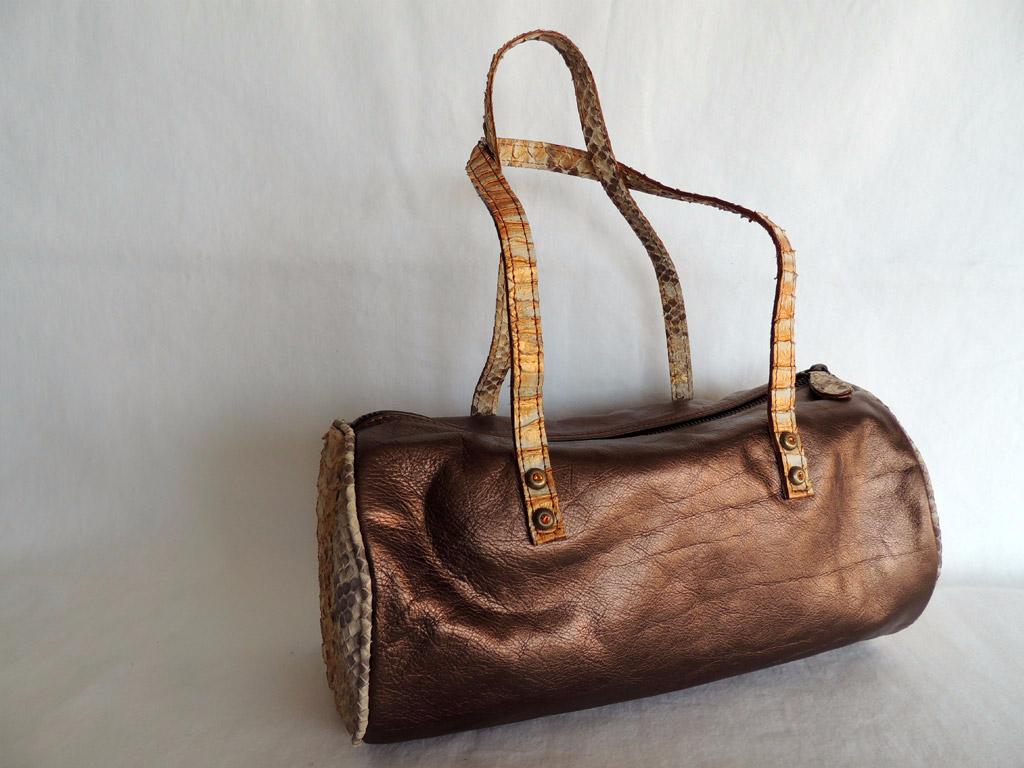 borsa cilindrica da donna borse in pitone - borse in pitone di A&A
