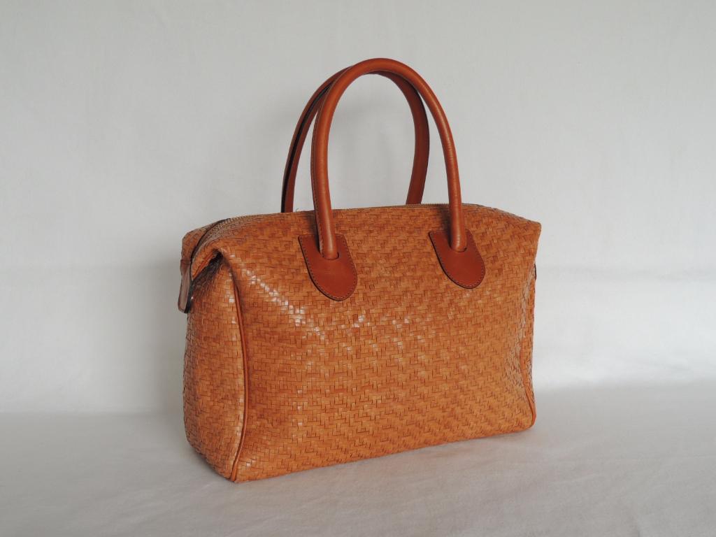 borsa pelle intrecciata artigianale - borsa bauletto