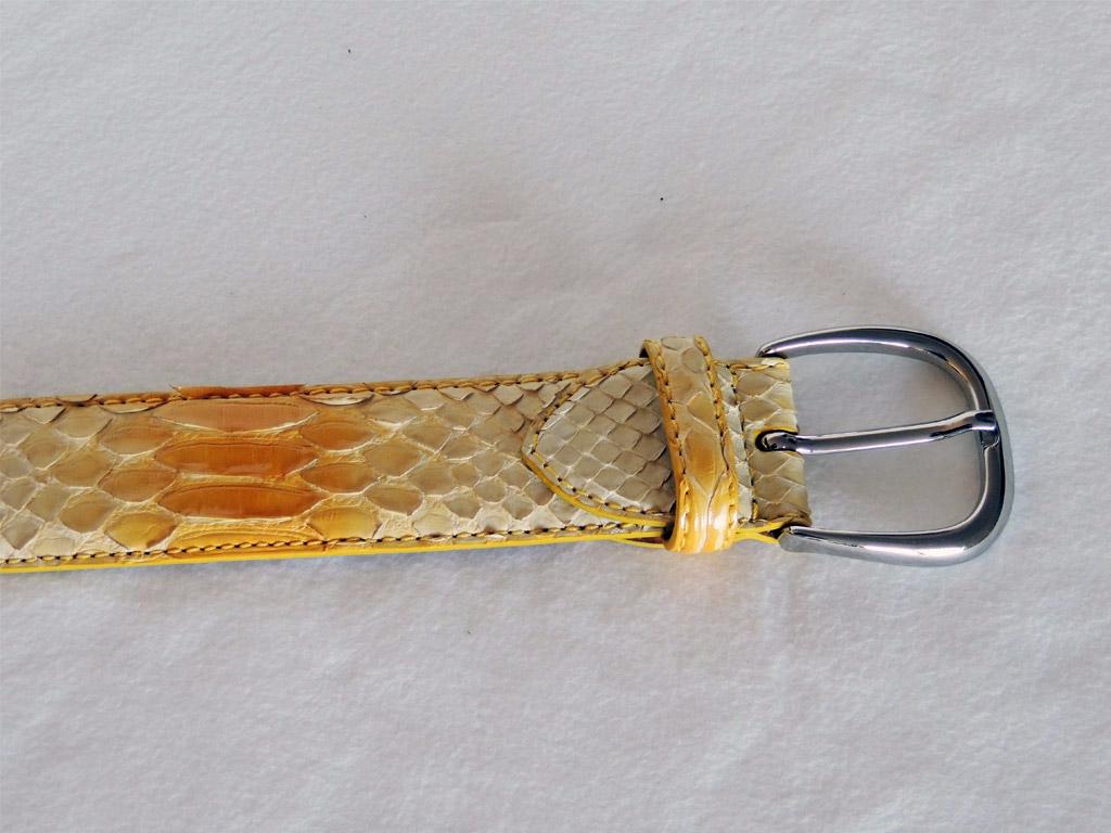 cinture  artigianali in pelle di pitone - cinture senza nichel