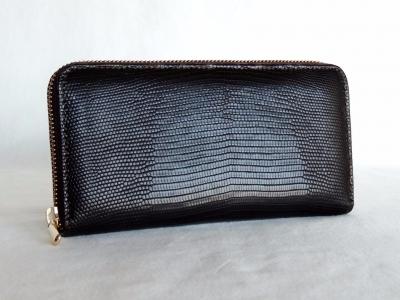 portafoglio nero in pelle di lucertola
