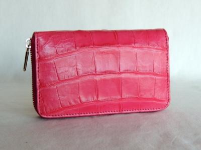 portafogli donna pelle: portafoglio in pelle di coccodrillo color rosa