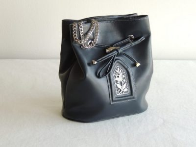 Aemilia Ars: borsa con inserti in un merletto ad ago, fatto a mano